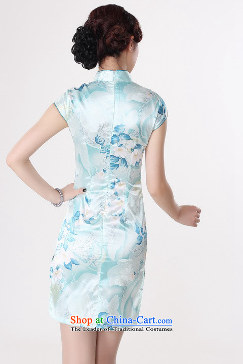 It new cheongsam dress summer improved retro collar is pressed to hand-painted silk cheongsam dress short Chinese improvement, light blue 2XL pictures, J5132 price, brand platters! The elections are supplied in the national character of distribution, so action, buy now enjoy more preferential! As soon as possible.