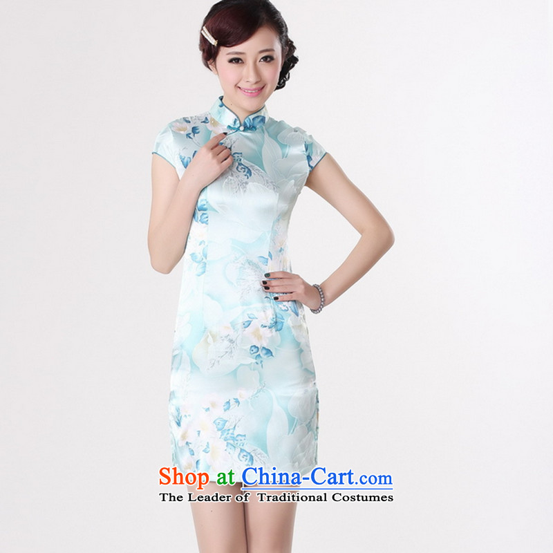 It new cheongsam dress summer improved retro collar is pressed to hand-painted silk cheongsam dress short Chinese improvement_ 2XL light blue J5132