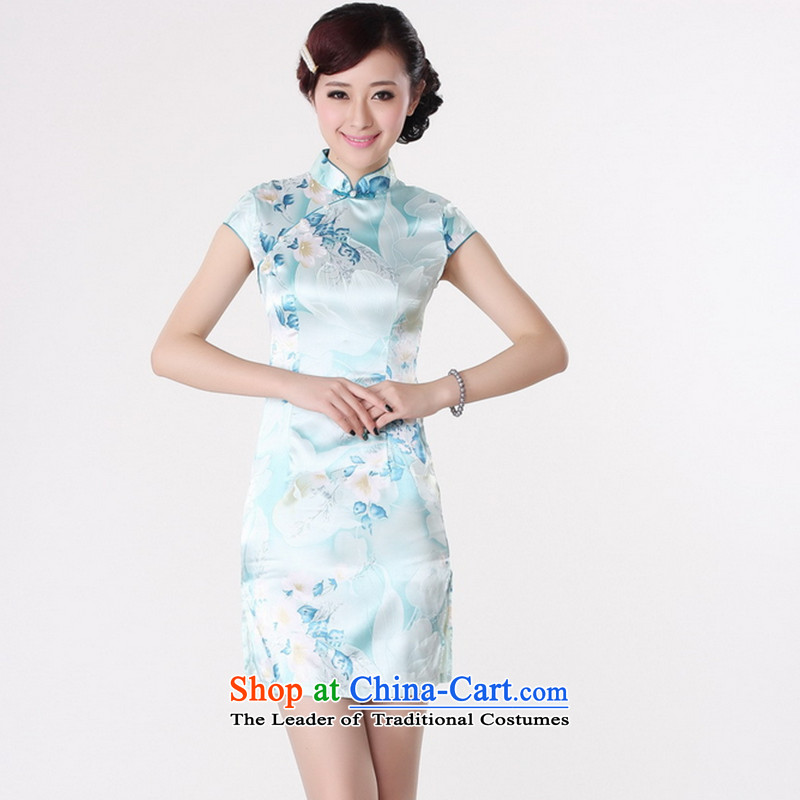 It new cheongsam dress summer improved retro collar is pressed to hand-painted silk cheongsam dress short Chinese improvement, light blue floral 2XL, J5132 shopping on the Internet has been pressed.