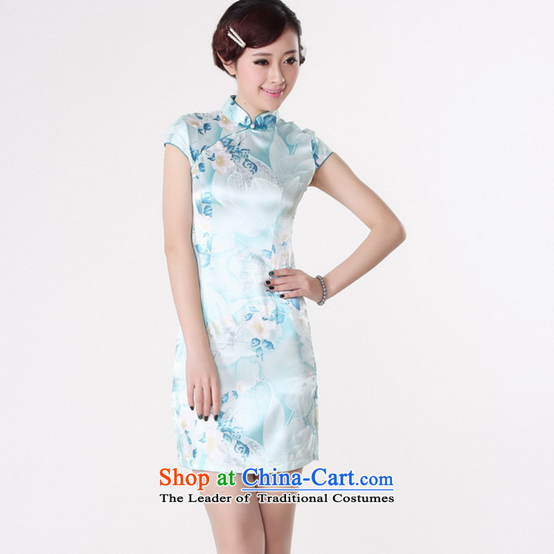 It new cheongsam dress summer improved retro collar is pressed to hand-painted silk cheongsam dress short Chinese improvement,light bluefloral 2XL, J5132 shopping on the Internet has been pressed.