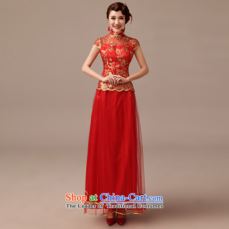 Clean the?new 2015 married man bows qipao retro collar package for larger shoulder red long bride cheongsam red?XL