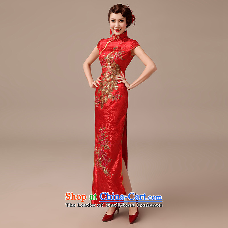 Clean the?new 2015 diffuse marriages long serving Chinese qipao bows large retro red qipao red?S