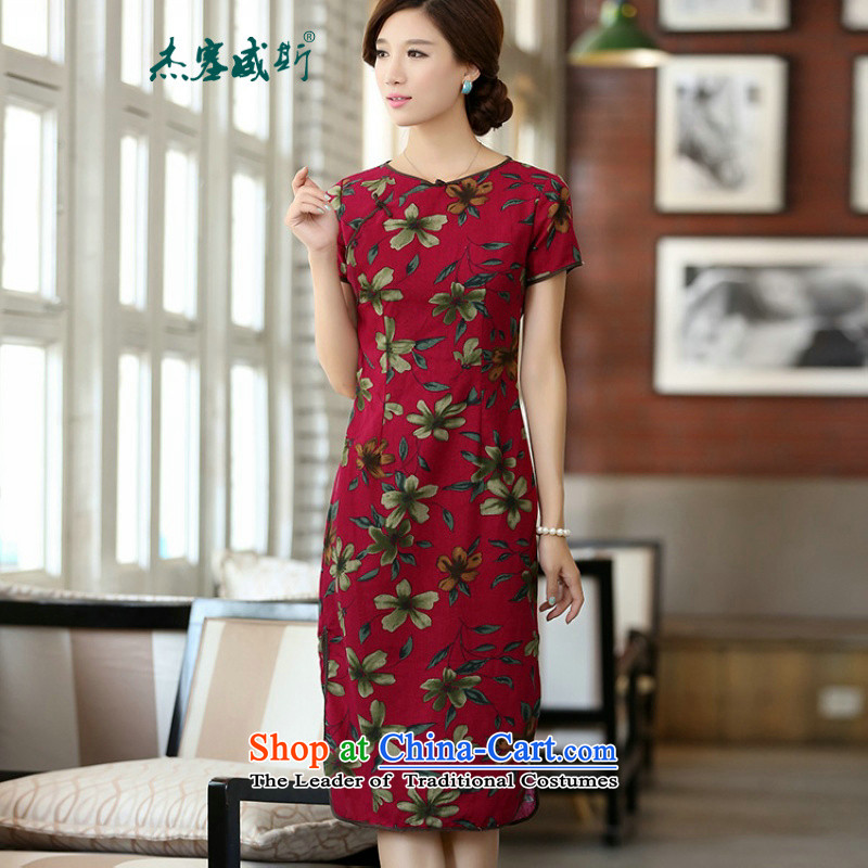 Jie in the spring and summer of new products cotton linen round-neck collar Sau San is manually stamp long cheongsam dress dresses聽QF624聽buckwheat flowers round-neck collar聽M