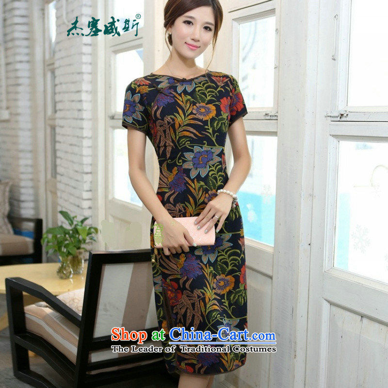 Jie in the spring and summer of new products China wind short-sleeved lotus round-neck collar linen in long hand tie short-sleeved cheongsam dress聽CQP444聽Lotus round-neck collar聽S