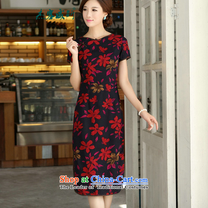 In the new kit, spring and summer female retro cotton linen collar word Sau San exquisite manually. Long cheongsam dress燤W486燤aple Leaf round-neck collar燤