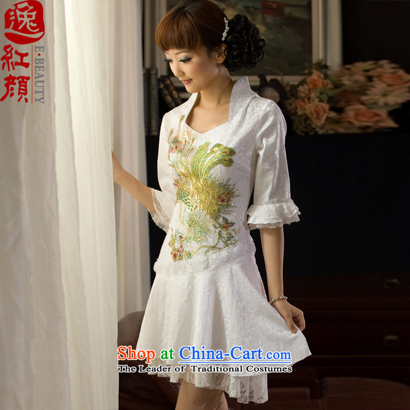 A Pinwheel Without Wind Phoenix long-sleeved qipao Yat dresses fall inside cheongsam dress improved daily stylish girl short of Sau San white聽S