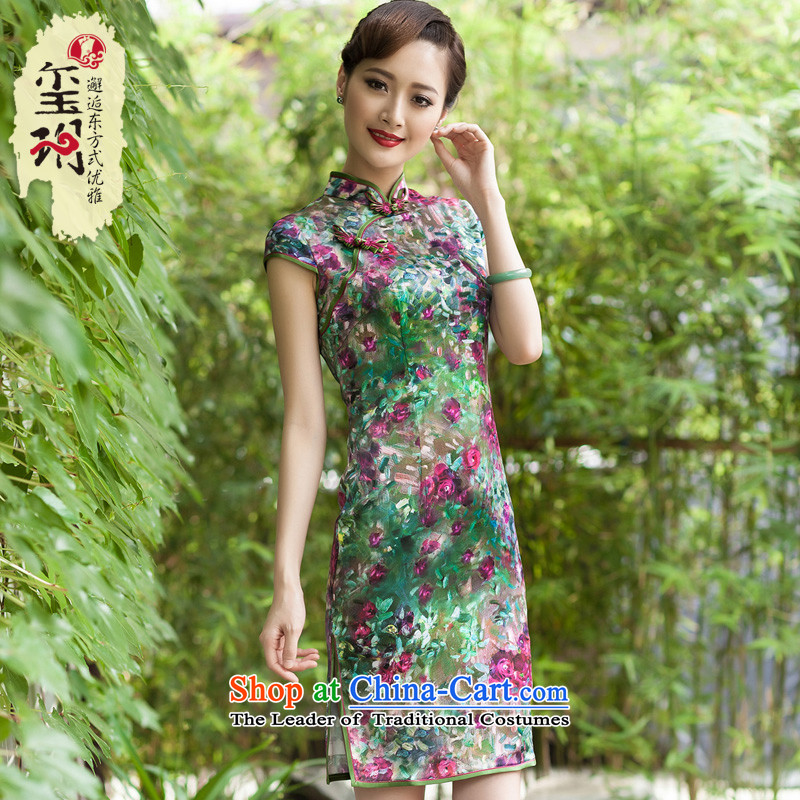 Seal of?2014 Summer New Silk Cheongsam improved daily qipao Sau San heavyweight Silk Cheongsam picture color?M