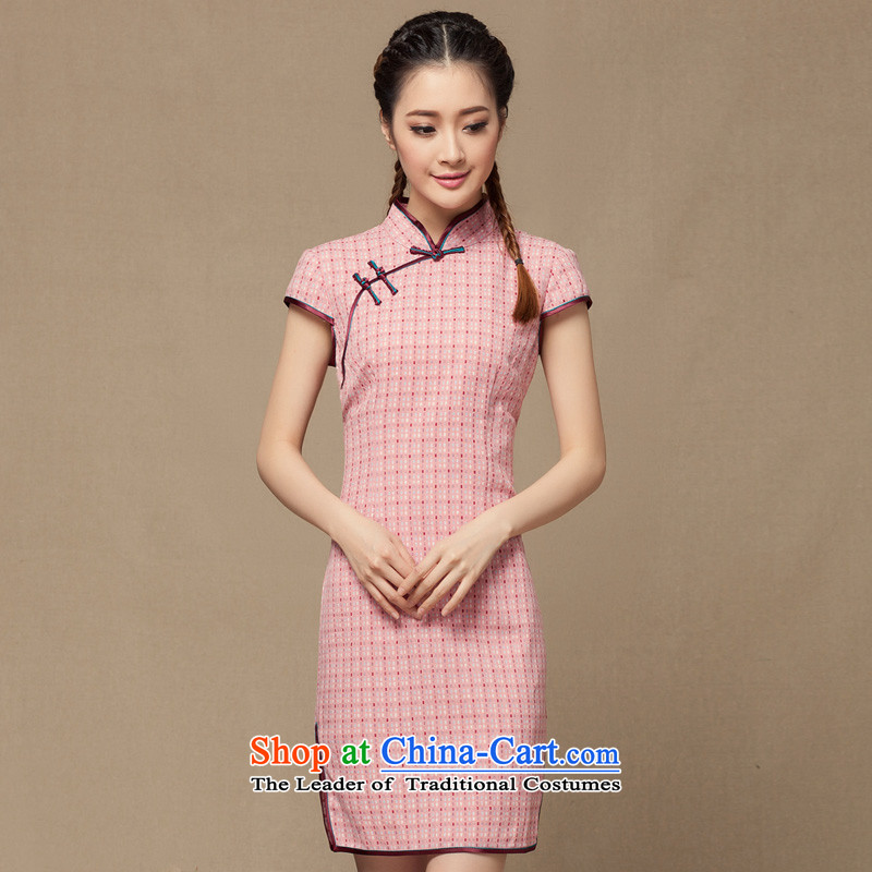 Seal of 2014 a new summer for women linen cheongsam dress temperament cotton linen grid, the Republic of Korea retro improved short pink M