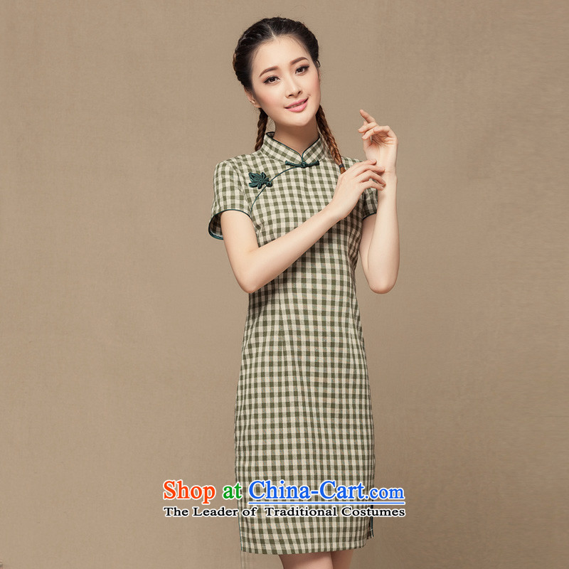 【 seal of cotton linen- retro checked short-sleeved qipao improved day-to-Republic of Korea Women's Summer linen cheongsam dress green tartan M