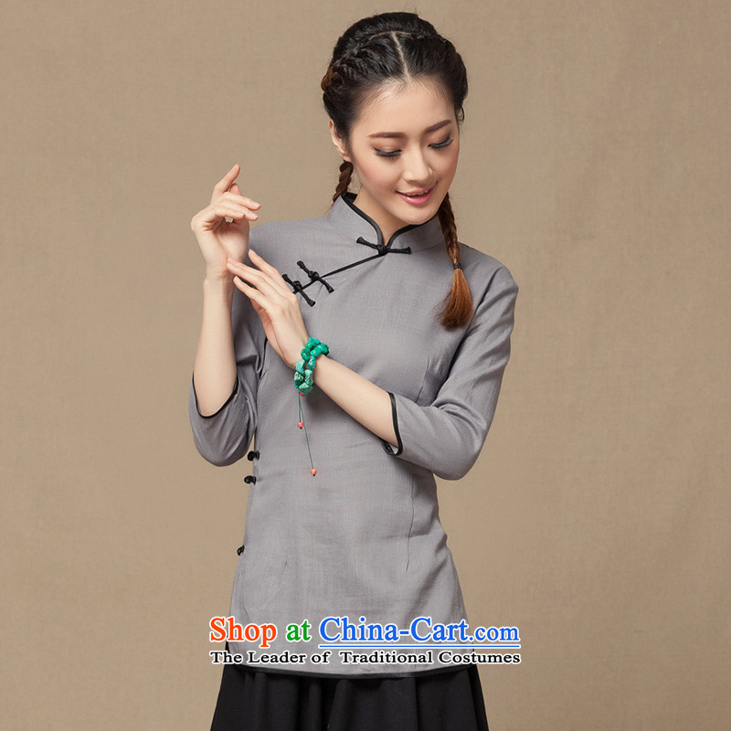 Summer 2015 new literary woman Tang Dynasty Chinese cotton linen clothes of ethnic Han-7 cuff qipao gray spot XL