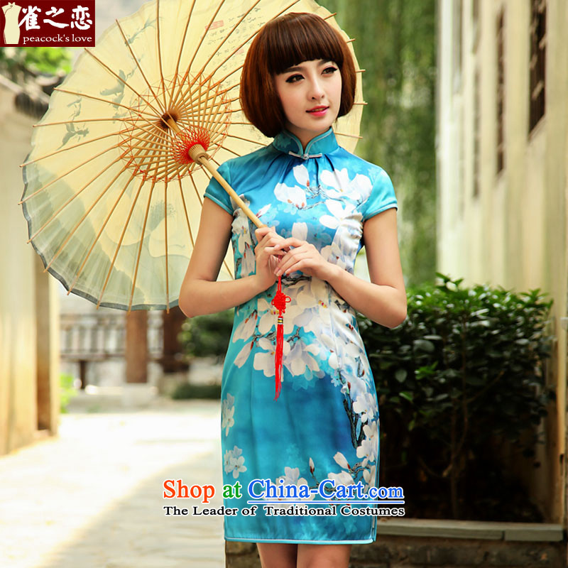 Love of birds in a light into�Spring 2015 Namibia new improved stylish short of Silk Cheongsam QD503 figure - pre-sale 7 days�XL