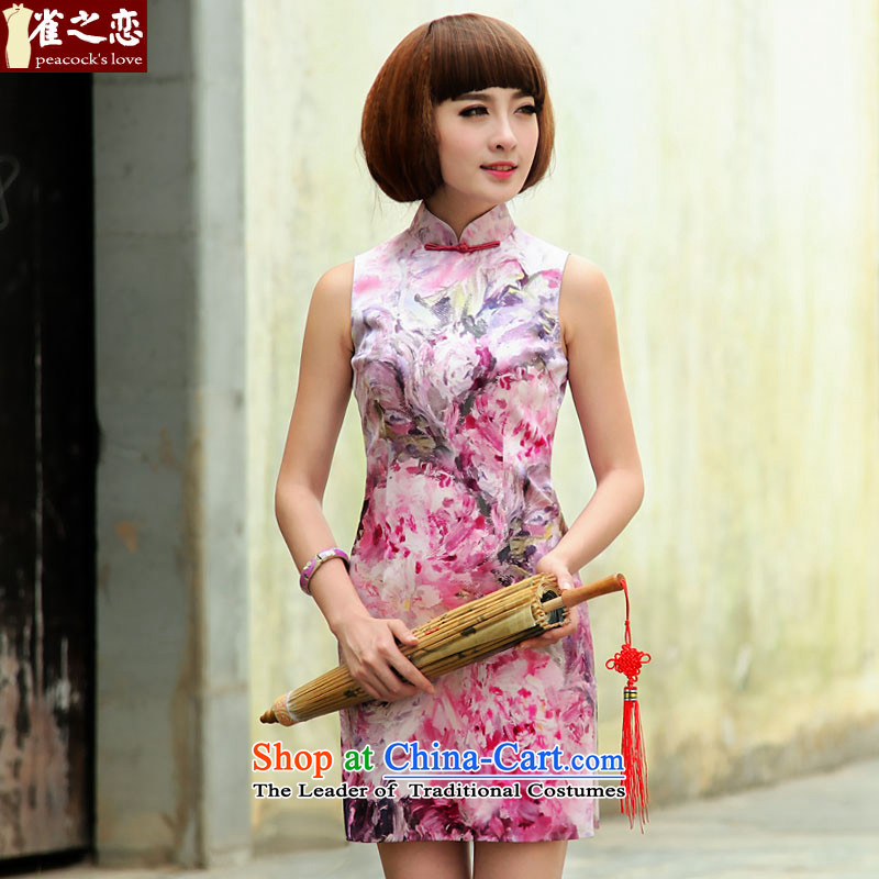 Love of birds move curtain drunken shadow�spring 2015 new improved stylish short sleeveless Silk Cheongsam suit�XXL