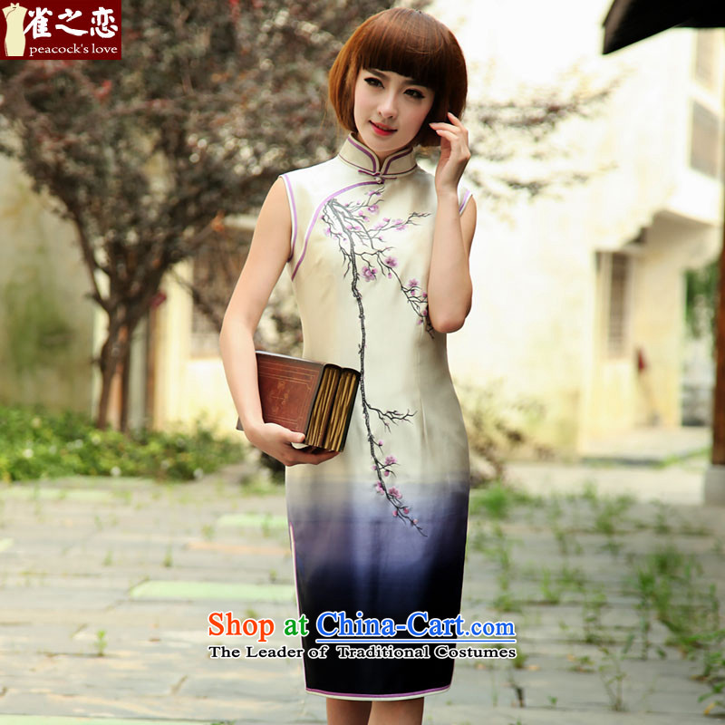 Birds of the enchanting beauty of the�spring 2015 new retro embroidered heavyweight Silk Cheongsam female QD506 sleeveless white�L