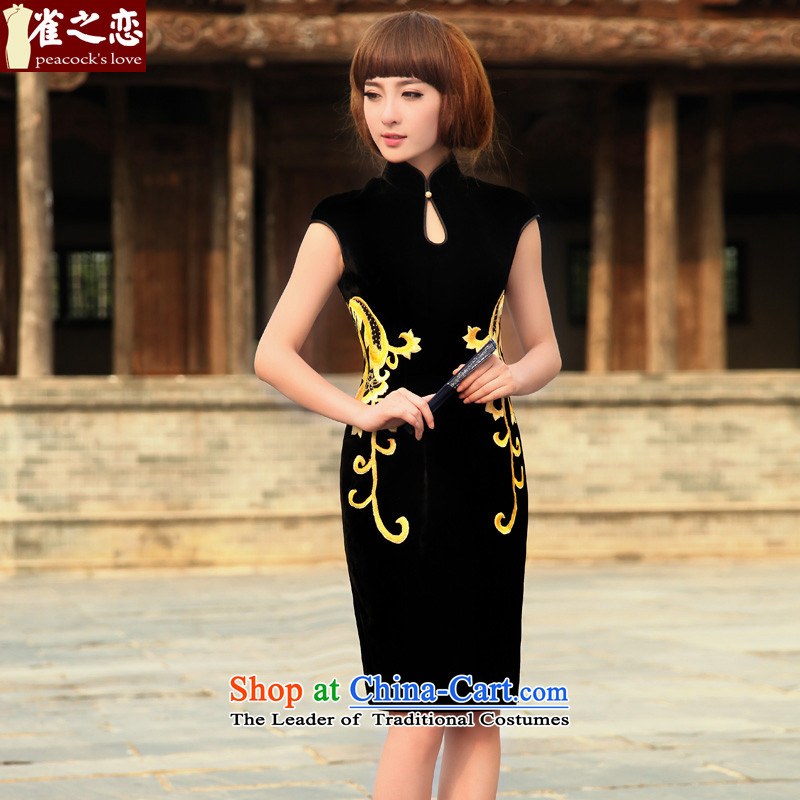 Love of birds fanned Yukio Satoh, spring 2015 new stylish sexy silk velvet qipao embroidered?XXL- black 20-day pre-sale