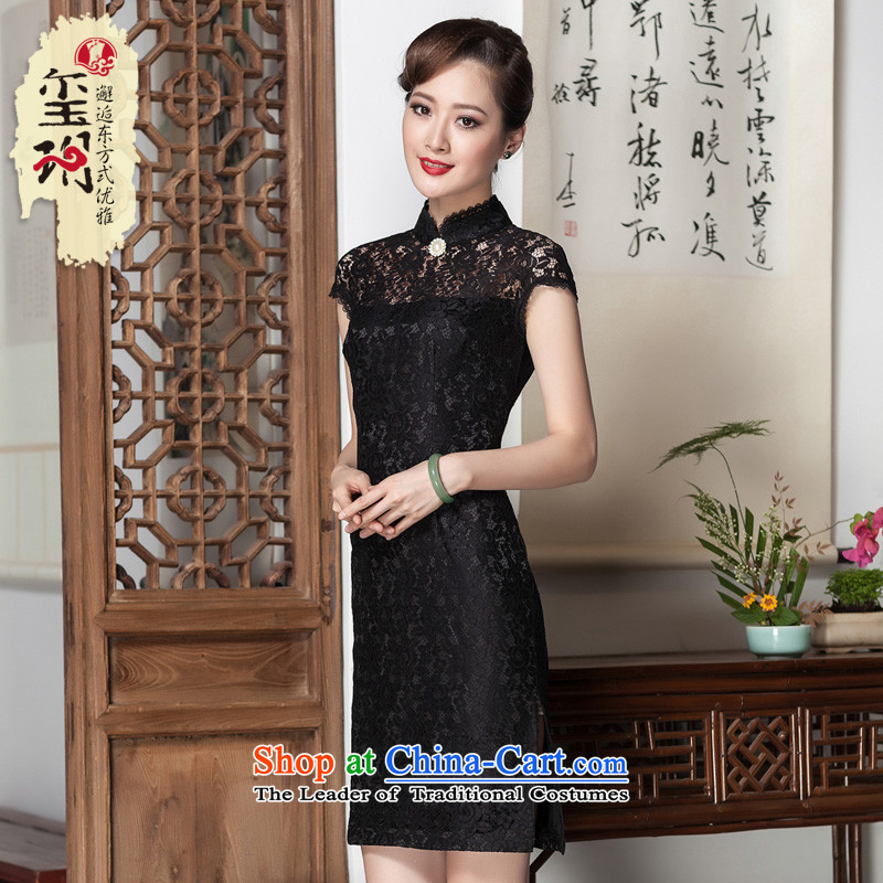 Seal of a爊ew summer 2014, Retro minimalist cheongsam dress of the Republic of Korea in an elegant and fine style lace daily improved qipao black燤
