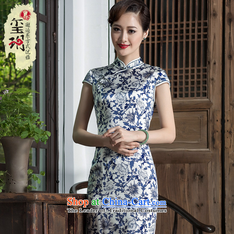 Seal of 2014 porcelain stamp female qipao heavyweight silk improved daily short stylish cheongsam dress photo color�M