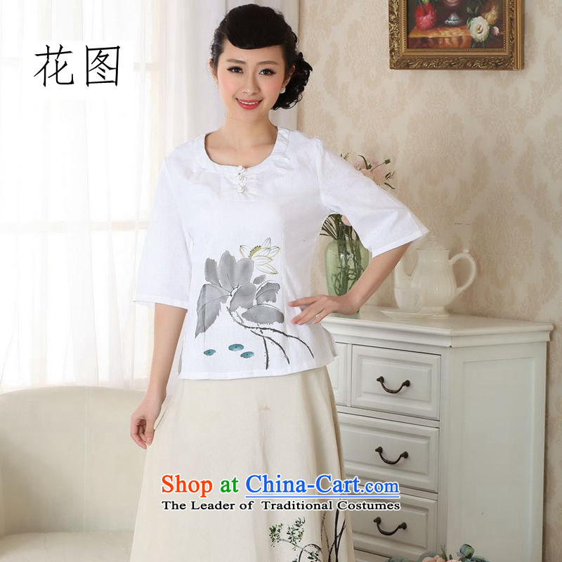The new summer it hand-painted qipao shirt cotton linen flax Chinese ethnic women clothes Tang dynasty improved White燤
