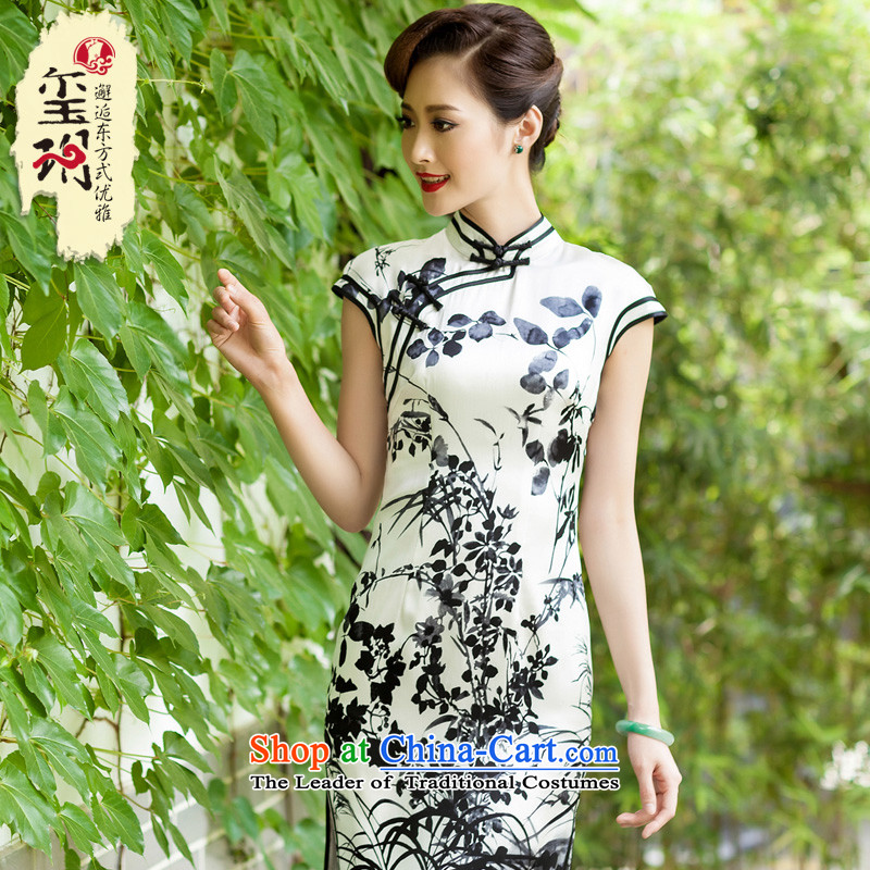 The Seal of ink bilateral Silk Cheongsam daily retro improved Tang dynasty counters heavyweight silk cheongsam dress photo color�M