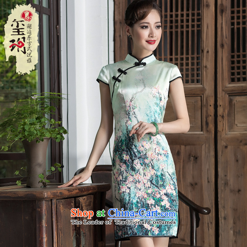 2014 New Silk Cheongsam dress girls improved Stylish retro Sau San-to-day short temperament, dresses picture color?M