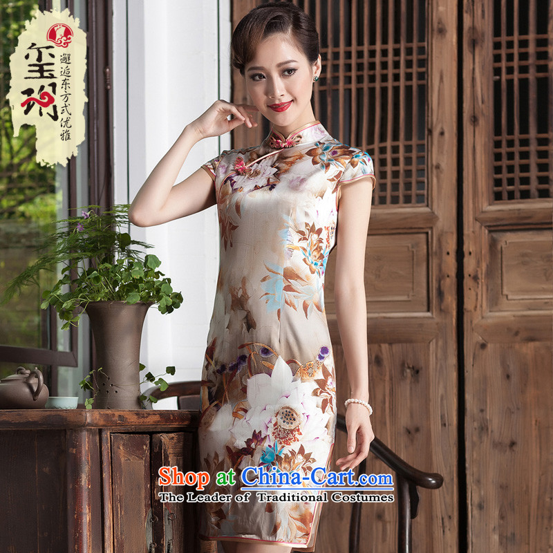 Seal of a new summer, 2014 Sau San short stylish cheongsam dress high-end heavy Ms. Silk Dresses picture color?S