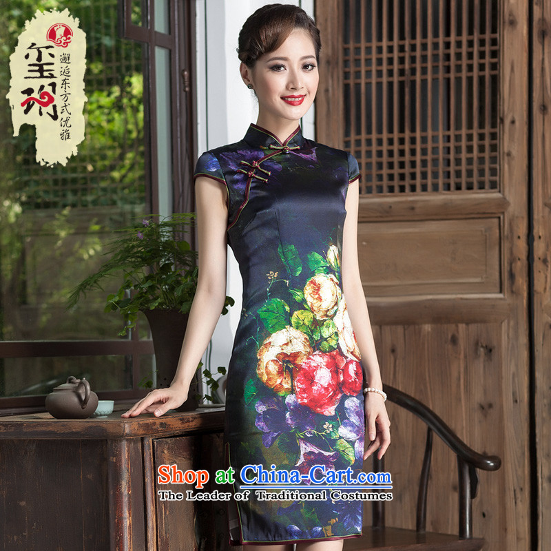 Seal of the 2014 Summer Chinese qipao improved heavyweight silk daily retro upscale female banquet cheongsam dress photo color?S
