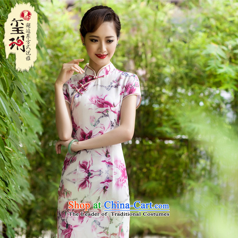 The 2014 summer Silk Cheongsam long in the heavyweight silk elegant dinner high on the forklift truck girls qipao improved color pictures of nostalgia for the燤