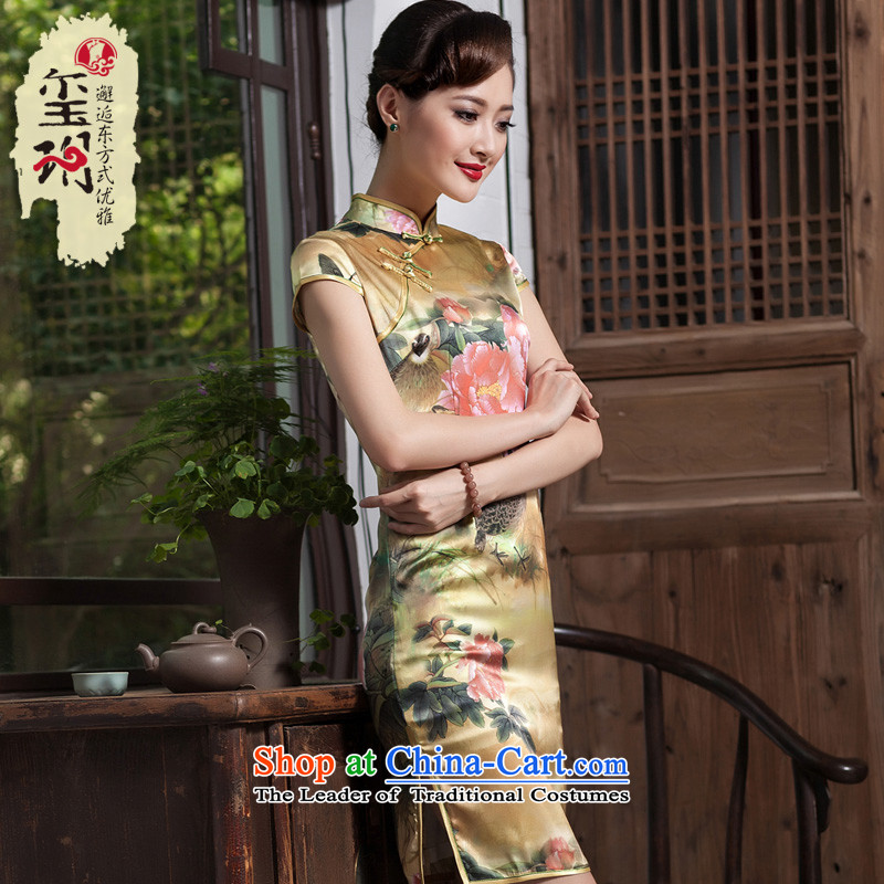 The 2014 Chinese classical principle seal Silk Cheongsam Ming Country Stamp Sau San stylish upmarket herbs extract cheongsam dress photo color?S