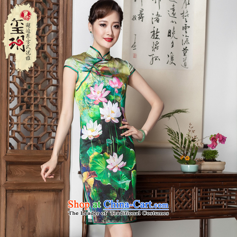 I should be grateful if you would have the seal of lotus pond and upscale silk cheongsam dress retro Ms. stamp improved short, banquet herbs extract pictures color?S
