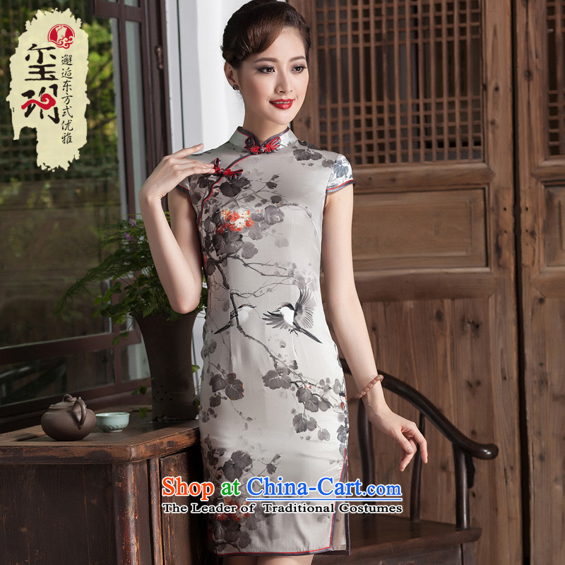 Seal of 2014 ink stamp heavyweight Silk Cheongsam look elegant qipao skirt improved day-to-Sau San short image color�S