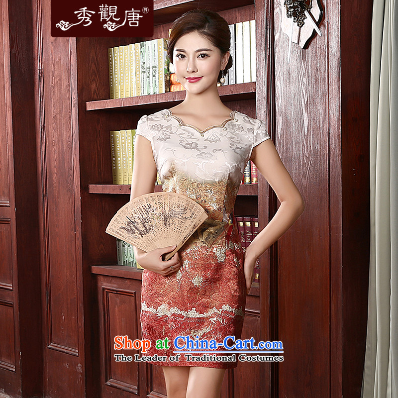 -Sau Kwun Tong- of dependency 2015 Summer qipao stylish improved open Sau San temperament Dress Suit聽M