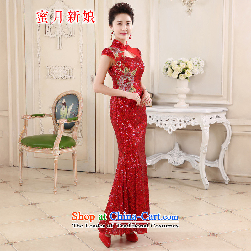 Summer 2015 new stylish red light is transmitted bride qipao lace Sau San long qipao elegance RED?M
