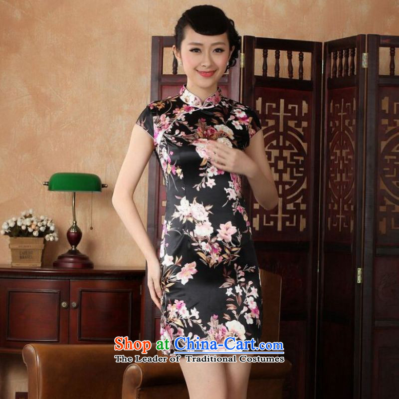 Ms Au King Mansion intended for summer improved retro cheongsam dress is pressed to collar hand-painted silk cheongsam dress short Chinese improvement) -A black L