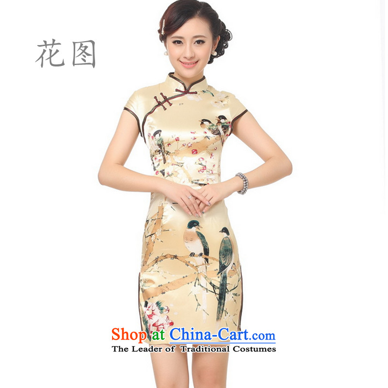It new cheongsam female collar is pressed to the summer flowers ink printing and dyeing qipao gold?M