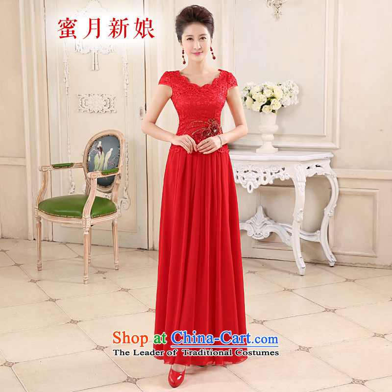 Honeymoon bride 2015 new bride bows qipao embroidered red chiffon qipao stitching qipao red聽S