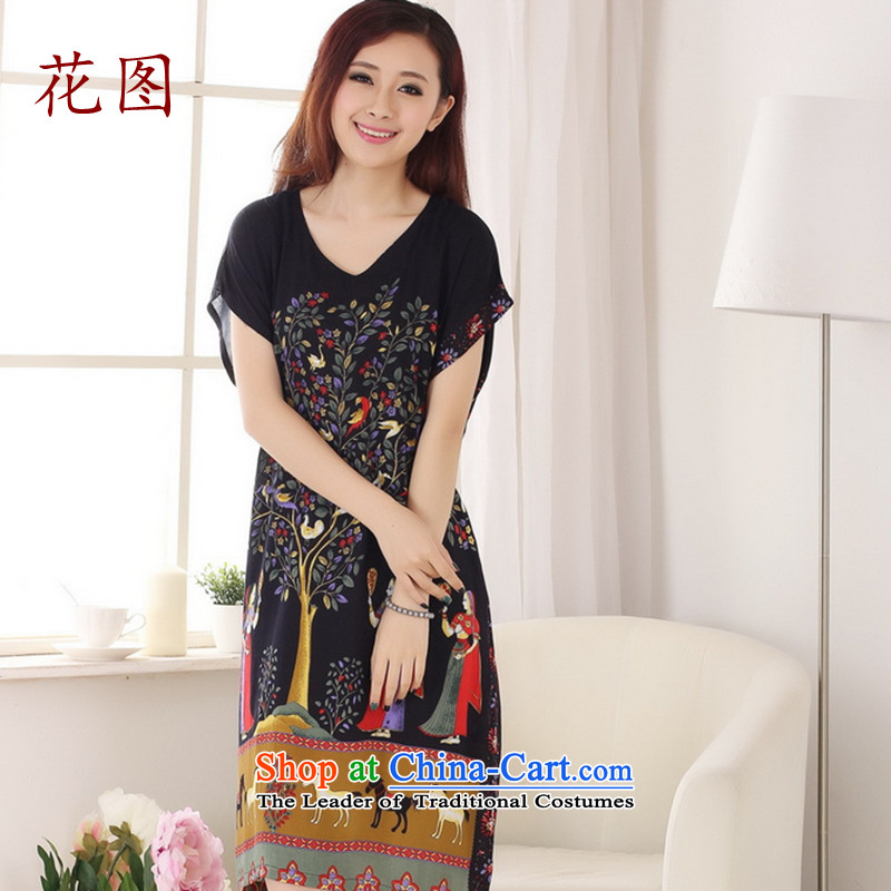 The new summer flowers figure Tang dynasty hand-painted ladies loose cotton bathrobe antique dresses -A navy blue color code