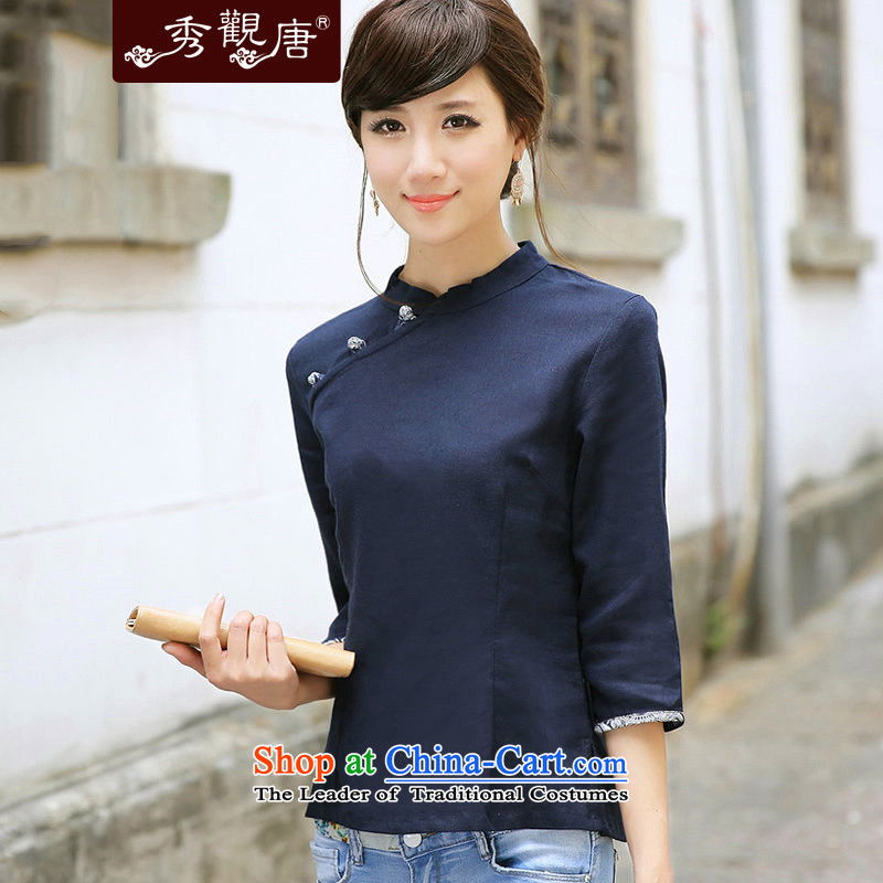-Sau Kwun Tong- Go 2015 new women's cotton linen Chinese Tang blouses_Chinese qipao shirt G13563 improved Sau San dark blue聽XXL