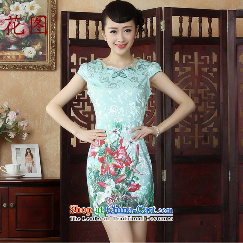 Figure for summer flowers cheongsam female Tang dynasty China wind improved cheongsam dress dresses daily short skirt dresses, qipao�3�map color�XL
