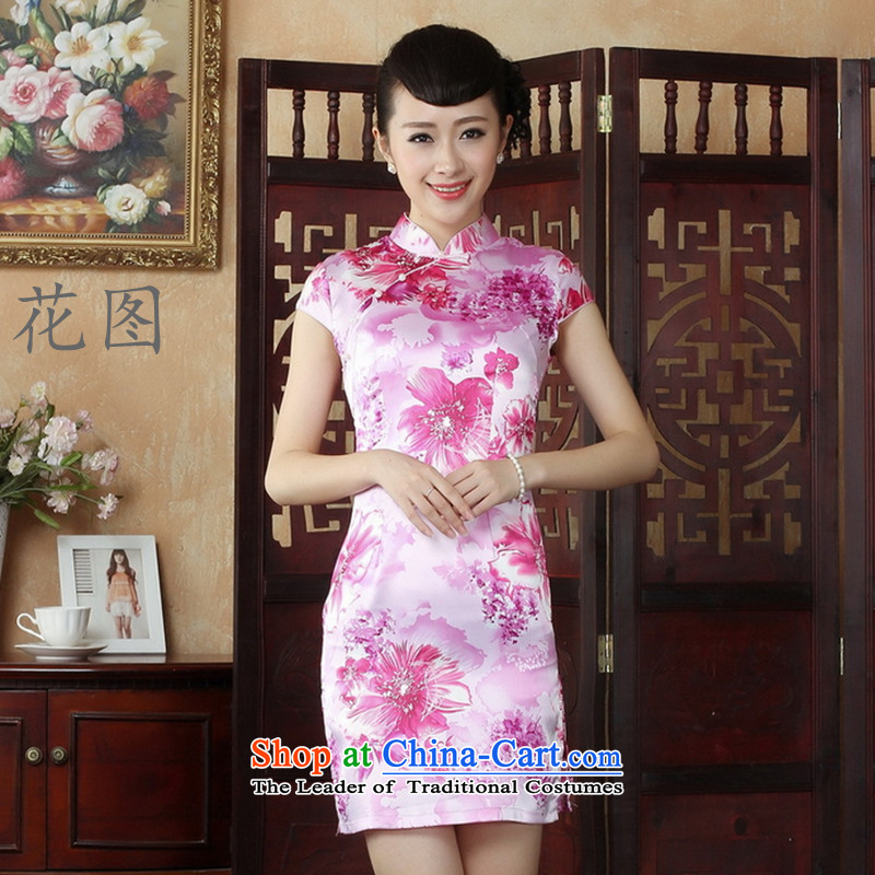 C.o.d. floral CHINESE CHEONGSAM summer qipao gown ramp Tang dynasty women short of Qipao picture color?S
