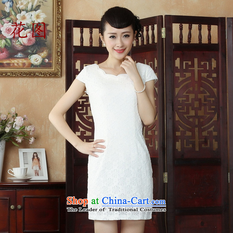 Figure qipao summer flowers Tang Gown lace cheongsam dress short skirt QIPAO) daily dress�1�White�XL