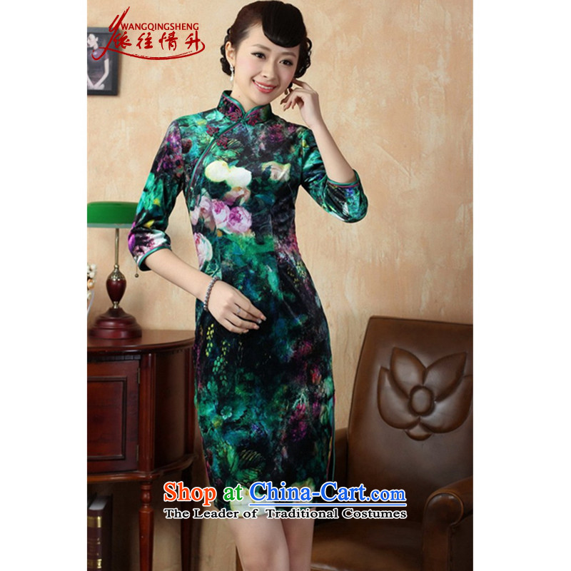 In accordance with the Love l Stretch Wool poster stylish Kim in classic short-sleeved Sau San Tong replacing qipao?LGD/TD0007#?picture color?2XL