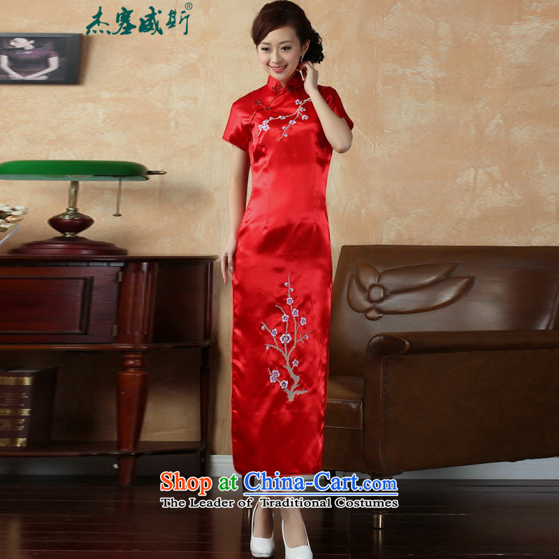 In the new kit, elegant improved collar manually detained embroidered Phillips-head short-sleeved long cheongsam dress�J3405 female�red�XXL