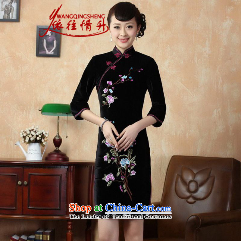 In accordance with the Love l stretch of filigree embroidery in Sau San Tong replacing short-sleeved qipao?LGD/TD0010#?black?S