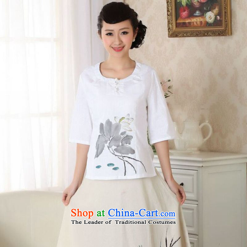 Ms Au King Mansion to female Tang Women's clothes summer T-shirt with round collar cotton linen OF ETHNIC CHINESE WOMEN'S Han-improved white?2XL