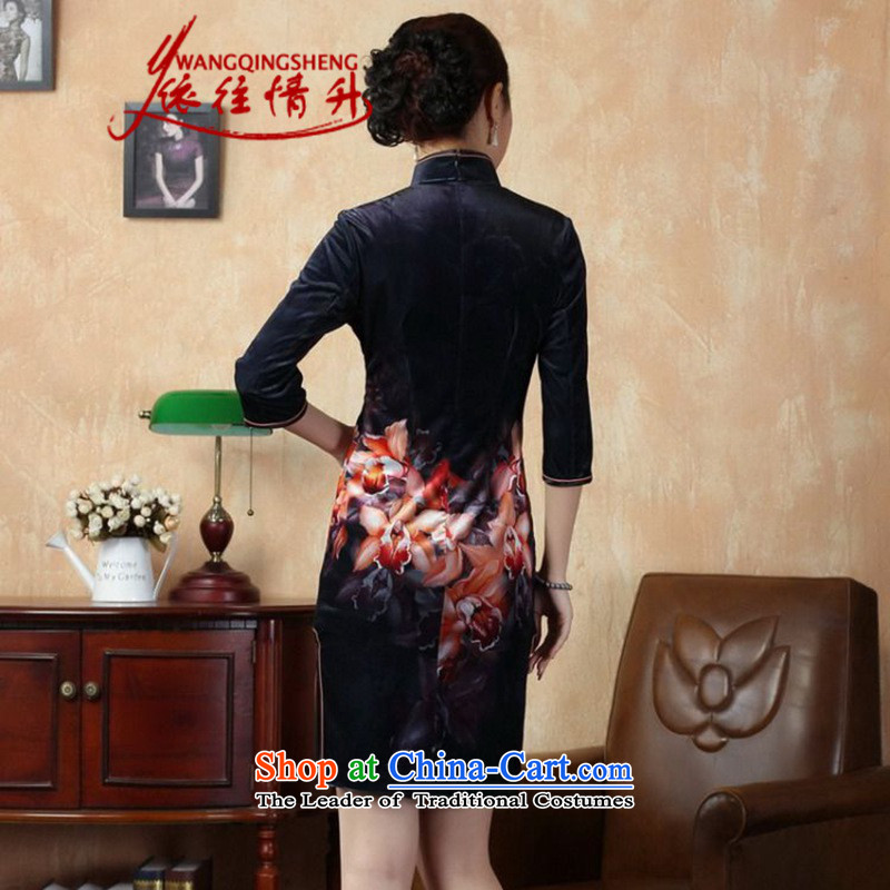 In accordance with the Love l Stretch Wool poster stylish Kim in classic short-sleeved qipao LGD/TD0003# Tang dynasty picture color XL, in accordance with the Love l , , , shopping on the Internet