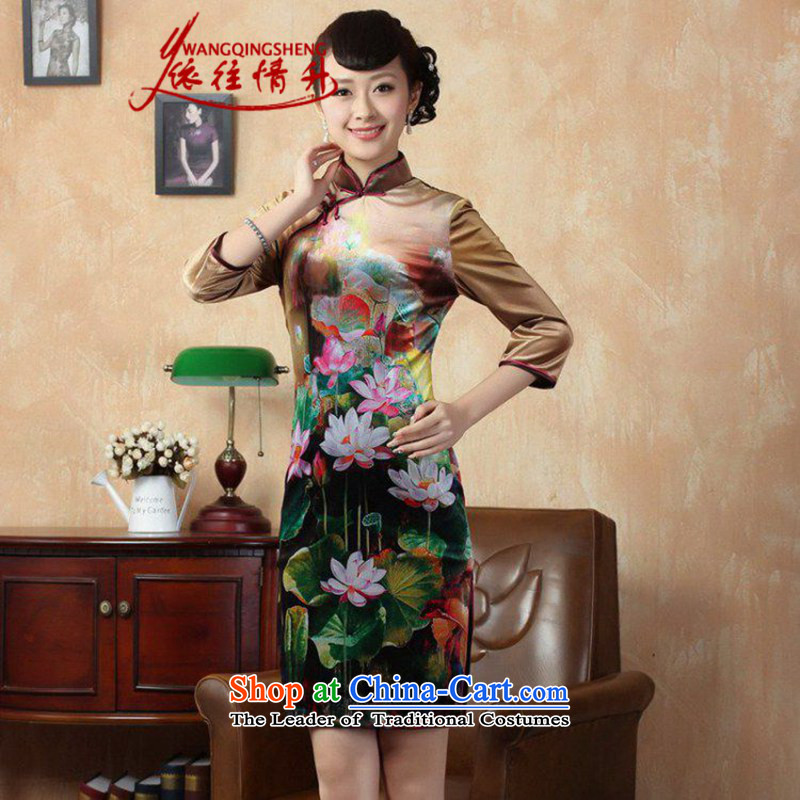 In accordance with the Love l Stretch Wool poster stylish Kim in classic short-sleeved qipao�LGD/TD0009# Tang dynasty�picture color�L