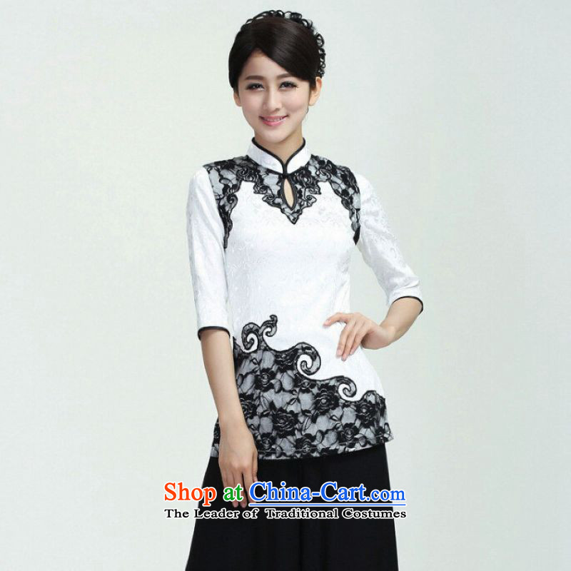 Ms Au King Mansion to female Tang Women's clothes summer shirt collar lace stitching Chinese Han-women improved white�L