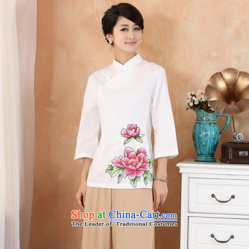 Ms Au King Mansion to female Tang Women's clothes summer shirt collar stamp Chinese Han-Female - 2 White M improvement