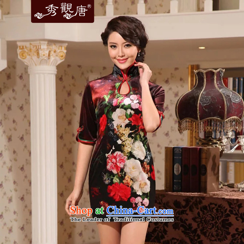 [Sau Kwun Tong] of spring 2015 in Madame cuff qipao and sexy retro velvet short of Qipao G922511 velvet suit?XL
