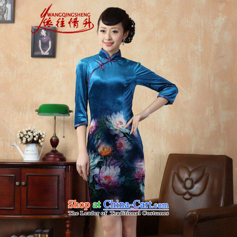 In accordance with the Love l Stretch Wool poster stylish Kim in classic short-sleeved qipao?LGD/TD0008# Tang dynasty?picture color?S