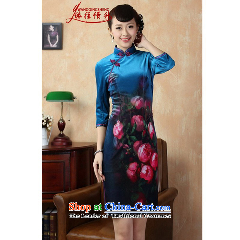 In accordance with the Love l Stretch Wool poster stylish Kim in classic short-sleeved qipao?LGD/TD0004# Tang dynasty?picture color?L
